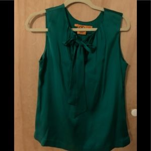 Tory Burch 100 percent silk emerald green blouse